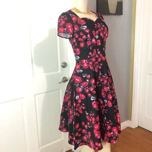 Roses Fit and Flared Knee Length Dress
